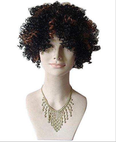 Perücke Kurze lockige Kinky Haar Perücken für Frauen Synthetische Perücke mit Haarteil hitzebeständig Faser mit WIP -