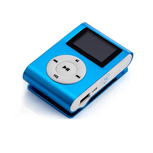FEITONG Mini USB Clip MP3 Player Musik Player LCD Schirm Unterstützung 32 GB Micro SD TF Karte (Blau)