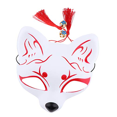 F Fityle Fox Makse Fuchs Japanische Kostüm Cosplay Halloween Spiel Party für Herren Damen Kinder - Rot - Japanische Kostüm Kinder