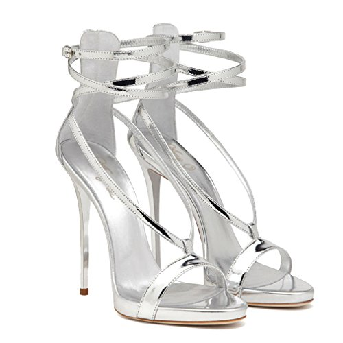 ENMAYER Femmes Gladiator Talon Plat Talon Ouvert Talon Bottines Chaussures de Conception en Cuir Verni Sandales Retour Zip Fermeture Chaussures Plus Size Argent
