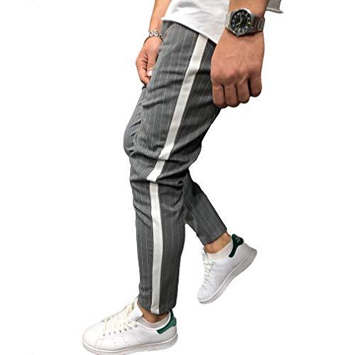 Herren Gestreifte Freizeithose Mit Tasche - Fashion Pencil Pants Reißverschluss Kontrastfarbe Mid-Waist-Hose Streetwear Male Slim Kleine Fußhose - Slim Reißverschluss