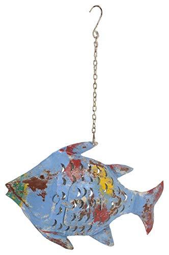 Posiwio dekorative ausgefallene Metallfigur als Fisch als Windlicht zum hängen und Stellen
