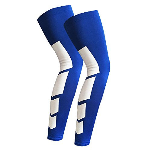 cross1946Kompression Stretch Knie Lang Elastic Sleeve Bandage, Sport Fußball Basketball Radfahren 1Paar M Bue (Knie-länge-cap)