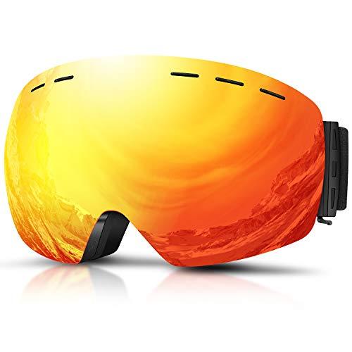 DADA-PRO Skibrille, Herren Damen Snowboardbrille Erwachsene über Gläser OTG rahmenlose für Ski Anti-Fog, UV-Schutz Sonnenbrille (Orange)