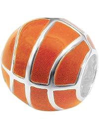 So Chic Joyas© Charm balón baloncesto naranja plata 925 – Compatible con Pandora, ...