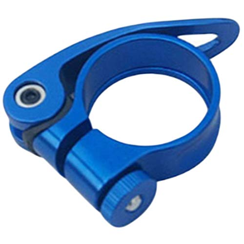 E-CHENG Aluminum Alloy Seatpost Clamp MTB Bike Cycling Saddle Seat Post Clamp Quick Release Spare Bicycle Accessories 31.8mm (Blue) -