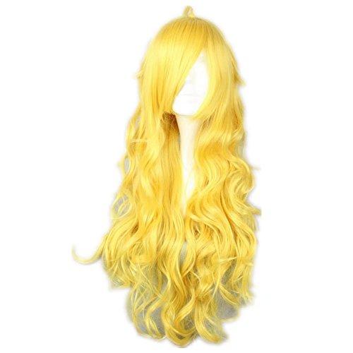 COSPLAZA gelbe lange gewellte Spiralen prestyled Mädchen Cosplay Perücken Verkleiden Haarteil