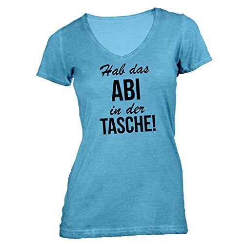 Damen T-Shirt V-Ausschnitt - Hab das Abi in der Tasche - Abitur Abschluss Schule Hellblau
