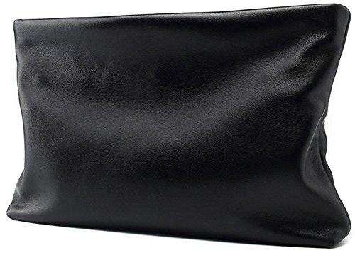 Everdoss Leder Handgelenkstaschen Herren Unterarmtasche Aktentasche Multifunktionale Große Kapazität Brieftasche Vintage (L, Schwarz)