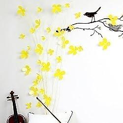WALPLUS Stickers muraux Fleurs Jaune 3D Sticker Mural Amovible en Vinyle Autocollant Murale Art Stickers Décoration DIY Salon Chambre Décor Papier Peint pour Chambre, Cadeau 9x 9x 9cm