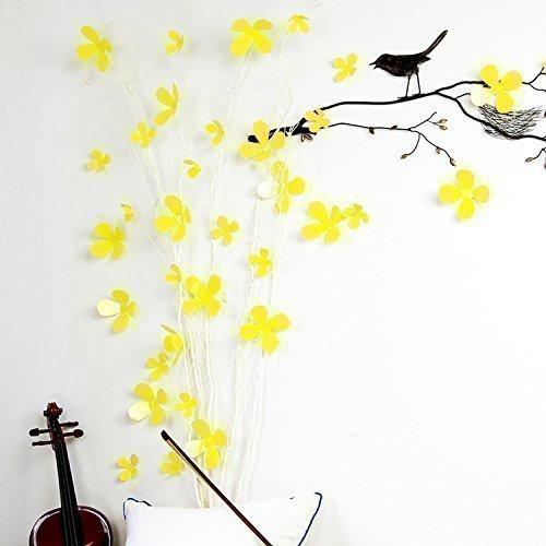 Walplus gelb 3D Blumen Wand Aufkleber abnehmbare Wandbild Kunst Abziehbilder Vinyl Home Dekoration DIY Living Schlafzimmer Décor Tapete Kinder Zimmer Geschenk, 9x 9cm (Gelb Abnehmbaren Tapeten)