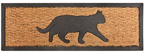 Esschert Design RB170 Katze Tür-/Stufenfußmatte, Kokosfaser, Gummi, schwarz / braun, 75 x 25 x 0.9 cm