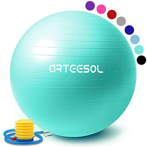 arteesol Gymnastikball, Balance Ball 45cm/55cm/65cm/75cm Yoga Ball mit Pumpe Anti-Burst Fitness Balance Ball für Core Strength (Meerblau, 65cm)