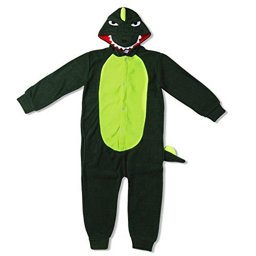 Imagen de kigurumi mameluco pijama con capucha para niños  traje disfraz infantil de animal para otoño, invierno cocodrilo  dinosaurio verde 5 7 años