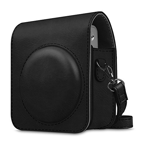 Fintie Tasche für Fujifilm Instax Mini 90 Neo Classic Sofortbildkamera - Premium Kunstleder Schutzhülle Reise Kameratasche Hülle Abdeckung mit abnehmbaren Riemen, Schwarz
