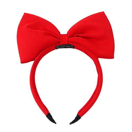 Lurrose Bowknot para niñas Diademas para el pelo de navidad Arco grande para el cabello Banda Fiesta Gorros (rojo)