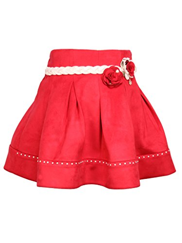 Cutecumber Girls Suede Red Knee Length Skirt (1844B-Red-26)  available at amazon for Rs.525