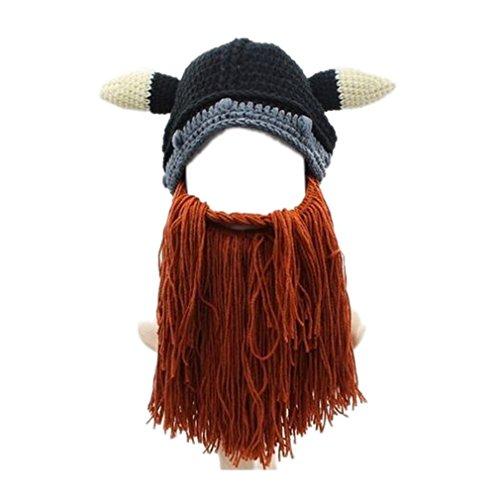 ELE GENS Herren Strickmütze Mütze Sturmhaube Bartmütze Mit Horns Kostüm Halloween Karneval (#B (Kostüme Cosplay Männer Für Halloween)