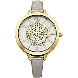 Little Mistress Women's Quartz Watch with Beige Dial Analogue Display and Beige Plated Bracelet LM005
