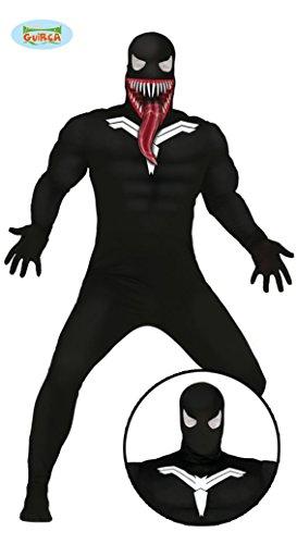 Spinnen Superheld mit Fratze Ganzkörper Kostüm für Herren Gr. M/L, Größe:L (Muskel Morphsuit Kostüm)
