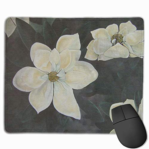 Flowers Magnolia Gardenia Non-Slip Rubber Mouse Mat Mouse Pad for Desktops, Computer, PC and Laptops 9.8 X 11.8 inch (25x30cm)