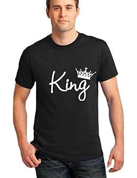 Cayuan Donna Uomo T-Shirt a Manica Corta per Coppia The King The Queen Stampa Maglietta Camicetta Regalo di San...