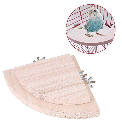 Filfeel Piattaforma di Gabbia per Uccelli in Legno, 2Pezzi Stendardi per Pappagallo Gabbia per Animali Parrocchetto Budgie Toys Gioco a Forma di Ventaglio Pendente Hamster