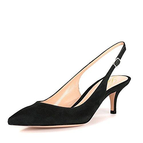 Lutalica Frauen Kitten Heel Spitze Patent Slingback Kleid Pumps Schuhe für Party Wildleder Schwarz Größe 36 EU -