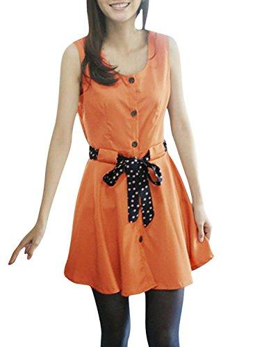 Femmes À Ceinture Sans Manche Col Rond Chiffon Chemise Tunique Orange S Orange