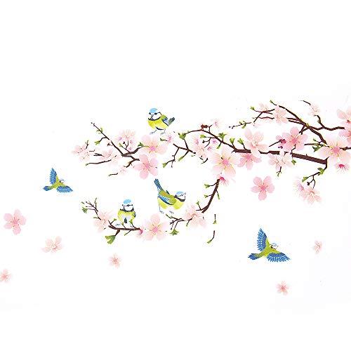 Wopeite murale adesivo floreale fai da te-adesivo fiori pesche alberi rami murale adesivo floreale istantaneo per salotto camera da letto 45 x 60cm