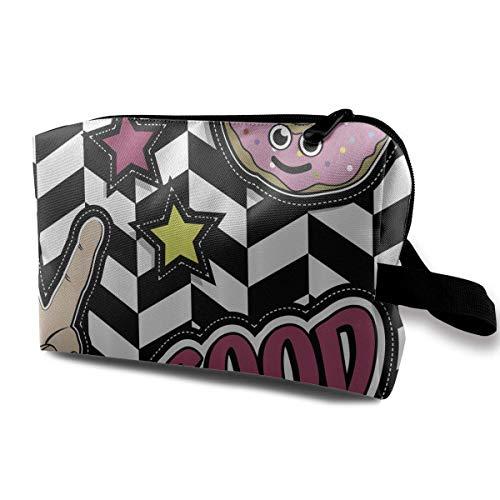Reise-hängende Kosmetiktaschen Cartoon Pop Art Donut Stars Multi-Functional Toiletry Makeup Organizer makeup holder