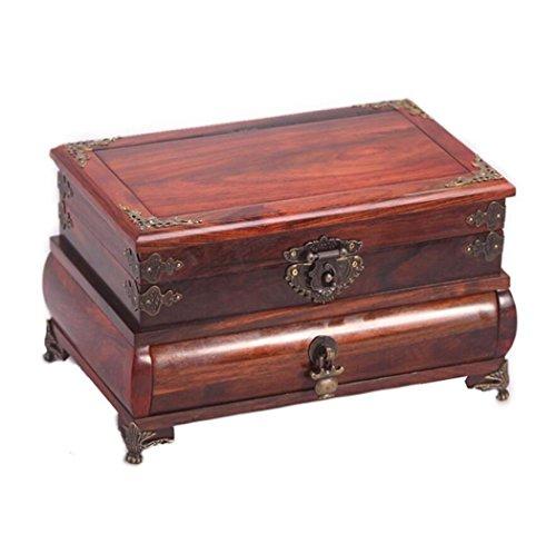 GY&H Retro Dekorative Schmuckschatulle Holz Spiegel Box Retro Handwerk Geschenk Schmuck Dressing Box Finish Schleifen (Glas Deckel Handwerk)