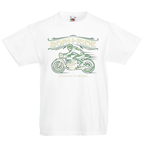 Kinder T-Shirt Born to Ride, Forced to work - saying shirts for motorcyclists (14-15 years Weiß (Lagertha Kostüm)