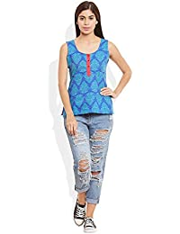 Very Me Women's Designer Blue Pure Cotton Printed Short Top