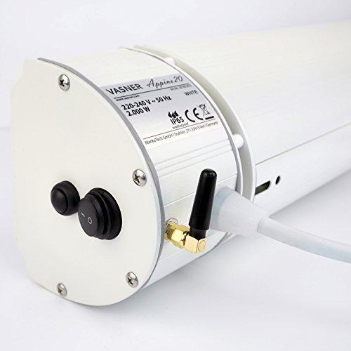 VASNER Infrarot-Heizstrahler Appino 20 weiß mit Abdeckhaube AirCape S, App-Steuerung, 2000 Watt, Fernbedienung, Terrassenstrahler-Infrarot - 5