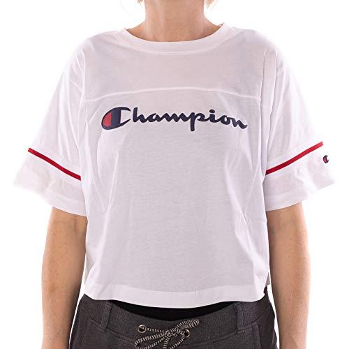 Patch Crewneck T-shirt (Champion Damen T-Shirt Crewneck Croptop 111380, Größe:S, Farbe:weiß (wht))