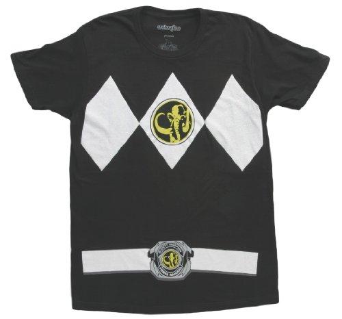 Power Rangers schwarz Rangers Kostüm Erwachsene T-Shirt, X-Large