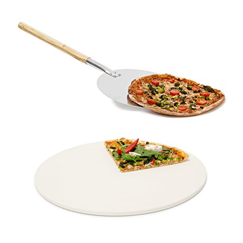 2 teiliges Pizza-Set, runder Pizzastein aus Cordierit, für Backofen und Grill, Pizzaschaufel Pizzaschieber mit langem Griff