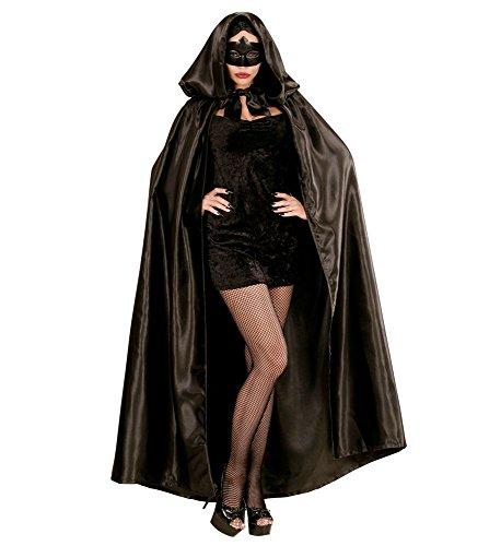Karneval Venedig Kostüm Damen - shoperama Satin Umhang schwarz große Kapuze