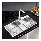A-Kitchen Sinks Küchenspüle, 2 Becken Großraum-Küchenspüle Küchenspüle Mit Ablaufleiste Oder Spülbecken Aus Satiniertem Edelstahl (Größe: 750 Mm * 400 Mm)