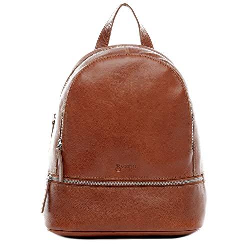 BACCINI Rucksack echt Leder DINA groß Backpack Tagesrucksack Stadtrucksack Lederrucksack Lederrucksack Damen braun
