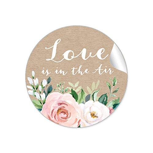24 STICKER Hochzeit LOVE IS IN THE AIR • BOHO KRAFTPAPIER OPTIK BLÜTEN ROSEN GRÜN APRICOT ROSA WEIß BRAUN • Gastgeschenk Seifenblasen Verpackung zur Hochzeit Tischdeko Selbstgemachtes • 4cm matt