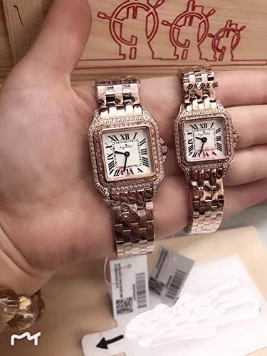 WAVFCSE Luxusuhr für Herren und Damen aus Edelstahl Saphirquarz, Quadrat aus Rotgold, Silber, Weiß, 2 Reihen Diamanten, Leuchtende UhrenDamen 22Mm Rose GOL