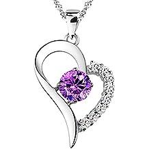 Por Siempre en Mi Corazón Colgante Plata Esterlina chapada en Rodio. 9 Diamantes Circonita. 45cm Cadena Ajustable Ondulada con Cierre de Anillo, en un Exquisito Joyero y caja para Regalo