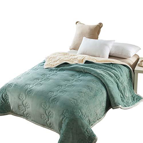 Max Home Coral Fleece Double Layer verdicken Steppdecke für Schlafzimmer-Wohnzimmer Einzelne/doppelte grüne Decke (größe : 200X230cm) -