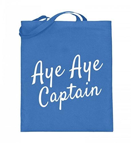Hochwertiger Jutebeutel (mit langen Henkeln) - Aye Aye Captain Blau