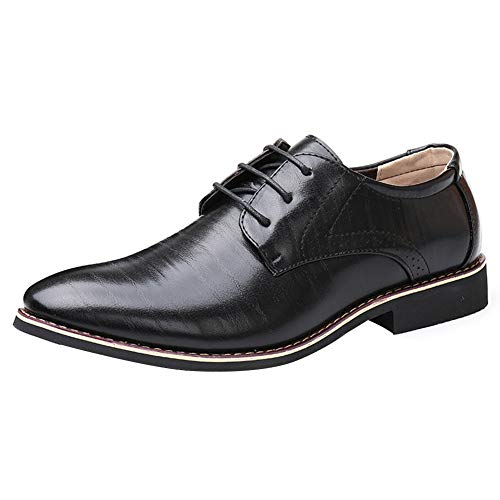 uirend Leder Schuhe Herren - Schnürhalbschuhe Business Anzugschuhe Lederschuhe Lackleder Oxford Smoking Lackleder Brogue Hochzeit Derby Schwarz (41 EU =Label 42 CN)