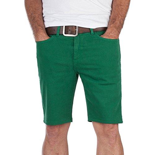 Superslick grüne Slim-Fit Short mit Stretch - enge Unisex Bermuda für Damen und Herren - Freizeitshorts grün (32) (Knapp Umschlag)