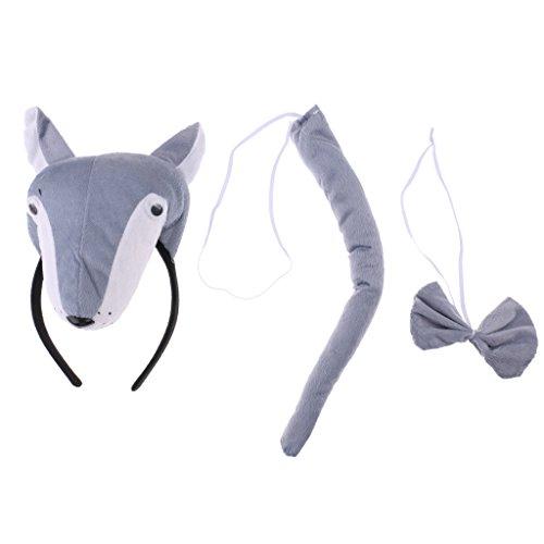 n Tier Stirnband Schleife Schwanz Kinder Kit Set Kostüm Zubehör - Grau Wolf, 3pcs/Set (Wolf Kostüme Für Kind)