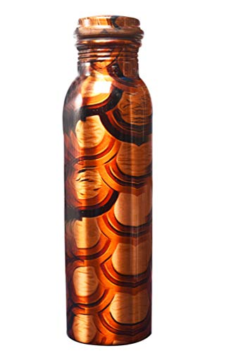 Stunning 100% Pure Printed Copper Water Bottle for Ayurveda Health Benefits 950 ML Joint Free & Leak Proof (Pattern May Vary Little). (Model 1)